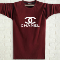 CHANEL Spring and autumn new fashion men and women letter print long sleeve tops Burgundy