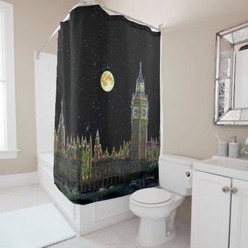 London Parliament Skyline At Night With Fool Moon Shower Curtain