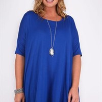 Cobalt Blue Oversized T-shirt With Short Sleeves plus size 16,18,20,22,24,26,28,30,32