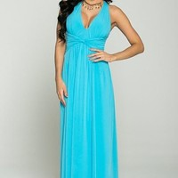 Glimpse Of Glamour Turquoise Blue Halter Maxi Dress
