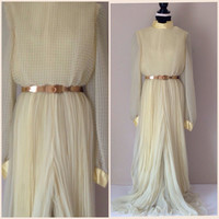 Long Chiffon Evening Dress / Pale Yellow / Pleated Culottes / Georgio Beverly Hills / Vintage Women's Clothing /Cocktail Dress / Party Dress