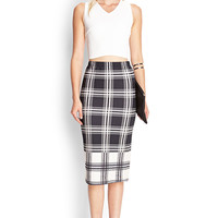 FOREVER 21 Tartan Print Midi Skirt Black/Cream