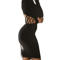 made2envy Open Back Waist Cut Out Striped Long Sleeves Bodycon Dress