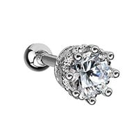 BodyJ4You Tragus Stud Earring Stainless Steel Crystal Clear 16G Piercing Jewelry