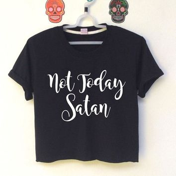 Not Today Satan T-Shirt Women Cotton Short Sleeve Funny Christian Cropped T Shirts Hipster Tumblr Tee Shirt Femme Crop Tops