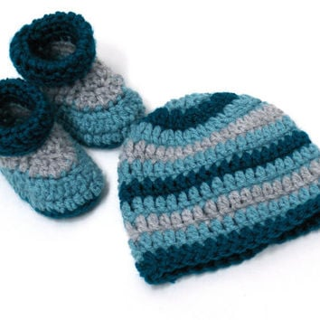 Crochet Striped Baby Beanie and Matching Boots