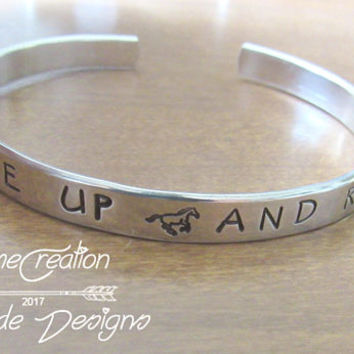 SALE Horse Bracelet - Saddle Up And Ride - Horse Jewelry - Equestrian Jewelry - Hand Stamped - Silver Cuff Bracelet -