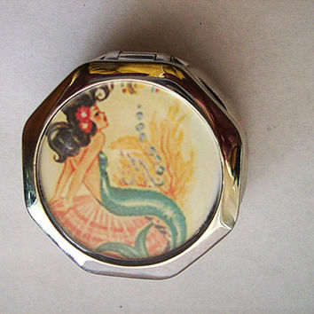 mermaid pill box retro 1950's vintage pin up girl rockabilly pillbox nautical kitsch