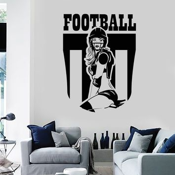 Vinyl Wall Decal Football Girl Sports Teen Room Decoration Stickers Unique Gift (ig3779)