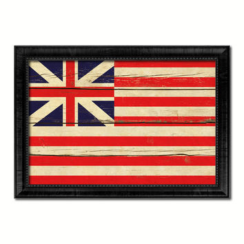 Grand Union Military Flag Vintage Canvas Print with Black Picture Frame Home Decor Wall Art Decoration Gift Ideas
