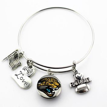 6pcs Jacksonville Jaguars Football football sports ginger snap bracelet jewelry expandable adjustable wire hook bracelet&bangles