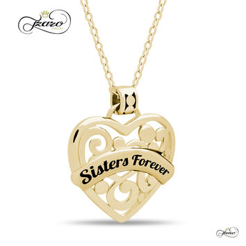 """Sister Heart Necklace,  925 Silver, 14K Gold Plated Necklace Engraved w """"Sisters Forever"""""""