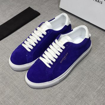Givenchy Men Suede White Blue Low Sneakers - Best Deal Online