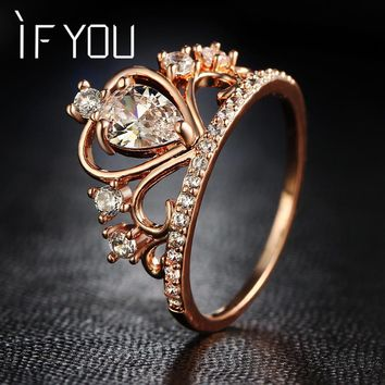 IF YOU Princess Queen Tiara Crown Rings For Women Rose Gold Color CZ Cubic Zirconia Crystal Fashion Engagement Wedding Rings