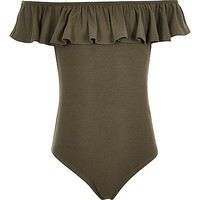 Girls khaki green bardot ruffle body suit
