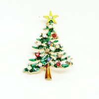 Rhinestone Christmas Tree Brooch Christmas Ornaments Gifts Beautiful Tree Brooch Pins for Gifts  Fashion Accessories