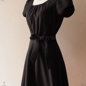 Black Sleeve Dress Black Formal Midi Dress Long Modest Dress Vintage Inspired Party Dress- Love Spell with Sleeve - XS-XL,custom