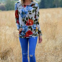 Flowers Print Pocket Drawstring Long Hoodie