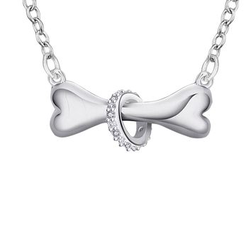 SENFAI Silver Dog Bone with Crystal Ring Necklace Puppy Pet Bone Pendant Necklace
