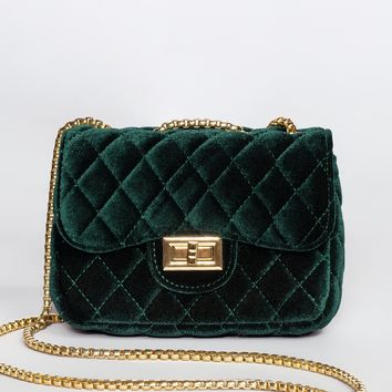 Peggy Quilted Velvet Purse - Emerald