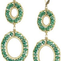 Dana Kellin Double Oval Green Onyx and Gold Bead Drop Earrings
