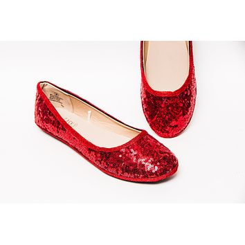 Red Starlight Sequin Ballet Flats