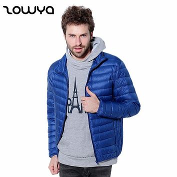 Zowya New Fashion 2017 Winter Jacket Men's Down Coats Thin Warm Slim Fit White Duck Down Jackets Male Solid Windproof Brand Coat