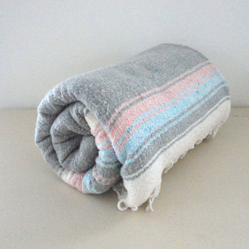 Vintage Mexican Blanket // Southwestern Striped Wall Hanging Grey Blue White and Pink