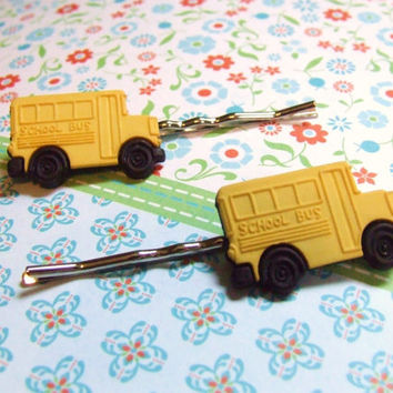 Big Yellow Bus - Yellow School Bus - Mini Van - Cute Plastic Bobby Pins - Bus Hair Clips - Bus Barrettes - Hair Accessories