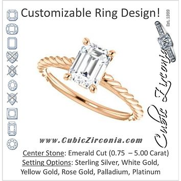 Cubic Zirconia Engagement Ring- The Lolita (Customizable Emerald Cut Style with Braided Metal Band and Round Bezel Peekaboo Accents)