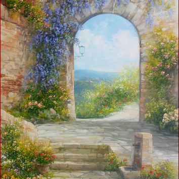 Italian painting enjoy in Tuscan alley spring colors originaloil on canvas of Antonietta Varallo Italy