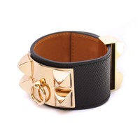 GOLD HARDWARE LEATHER BANGLE