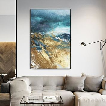 Modern Abstract acrylic Gold blue painting on canvas art original texture painting extra Large wall pictures cuadros abstractos hand-painted