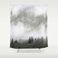 Pine trees in mist. Scotland. Shower Curtain by anipani