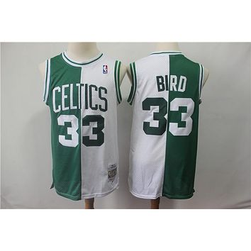 Boston Celtics 33 Larry Bird Doubel Color Spell Swingman Jersey