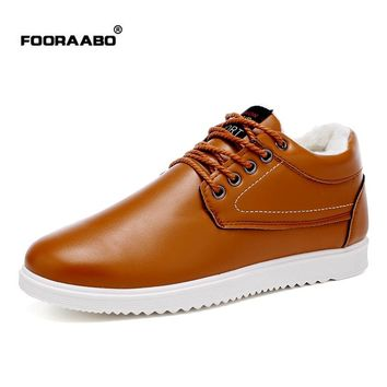 Fooraabo Brand Boots Men Winter Shoes Warm Snow Leather Ankle Boots Waterproof Casual Shoes Men Brown Lace Up Botas Masculina