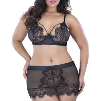 Eyelash Plus Size lace Skirtini