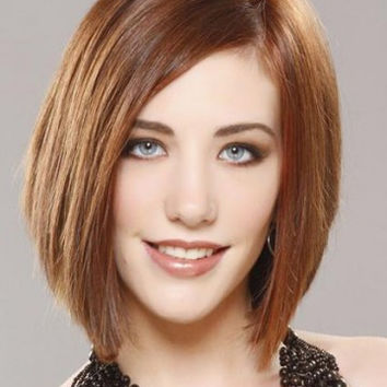 Medium Straigh Lace Front 100% Human Hair Bob Wig