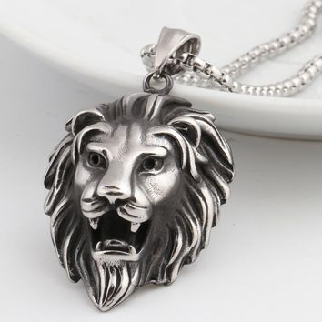 Hip Hop Lion Head Pendant Necklace For Men Luxury Stainless Steel Male Jewelry Friendship Gift