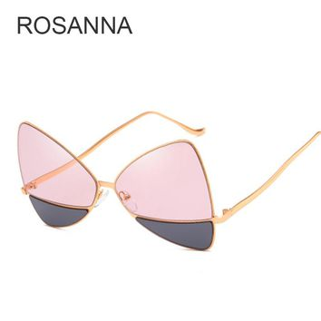 ROSANNA 2018 Cat Eye Women Sunglasses Tinted Color Lens Vintage Shaped Sun Glasses Women Eyewear 70s Luxe Red Female Sunglasses