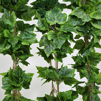 5PCS real artificial Plant Silk grape leaf scrapbooking garland faux rattan vine Ivy home decor wedding flower christmas gift