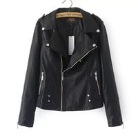 Black Faux Leather Convertible Collar Zipper Long Sleeve Jacket
