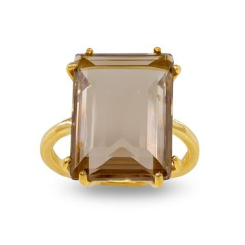 Emerald Cut Citrine Crystal Ring in Sterling