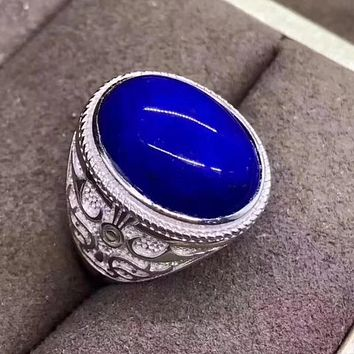 Fidelity Natural 13*18mm Afghanistan Lapis Rings s925 sterling silver hollow Domineering fine Jewelry man Natural blue gemstone