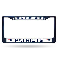 NFL New England Patriots Navy Colored Chrome License Plate Frame