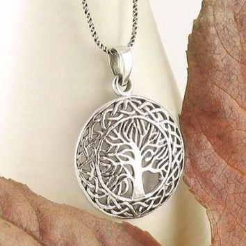 Celtic Tree of Life Medallion Necklace in Sterling Silver