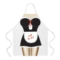 Attitude Apron French Maid Apron, White, One Size Fits Most: Home & Kitchen