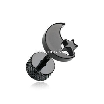 A Pair of Blackline Crescent Moon & Star Fake Plug Earring
