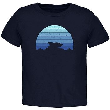 Ocean Shark Retro Sunset Blue Toddler T Shirt