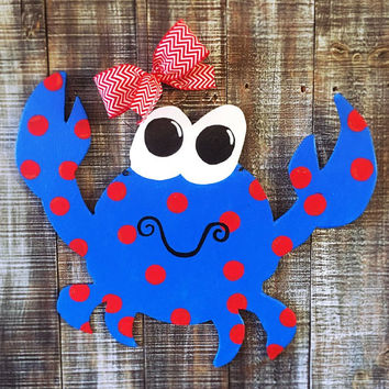 Patriotic door hanger,Summer door hanger,Crab door hanger,wood door hanger